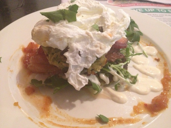 Zucchini fritters with feta, bacon, roast tomato, rocket, aioli, poached egg and mango chutney
