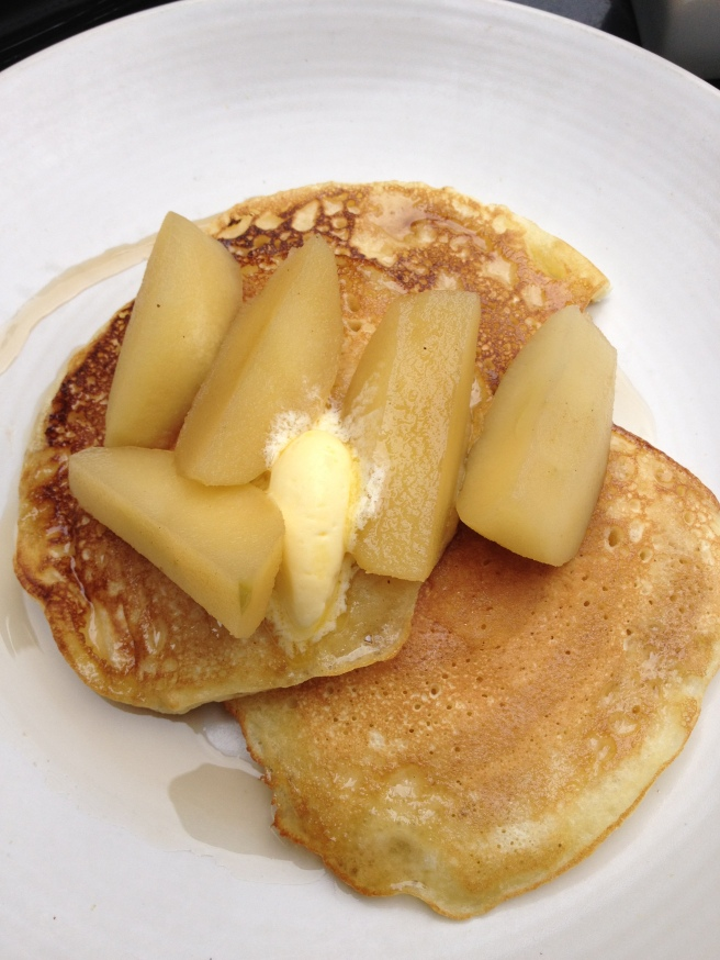 Buttermilk pancakes with cinnamon apples, maple syrup and whipped butter - The Millswyn, South Yarra