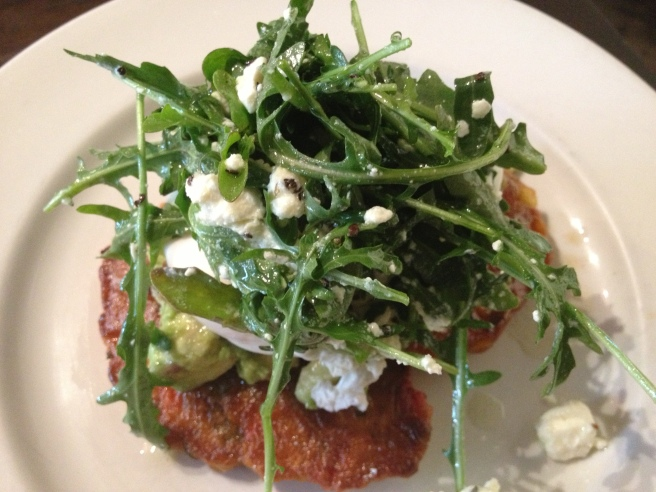 Corn fritters with avocado salsa, rocket and poached eggs (Bendigo Street Milk Bar, Burnley)