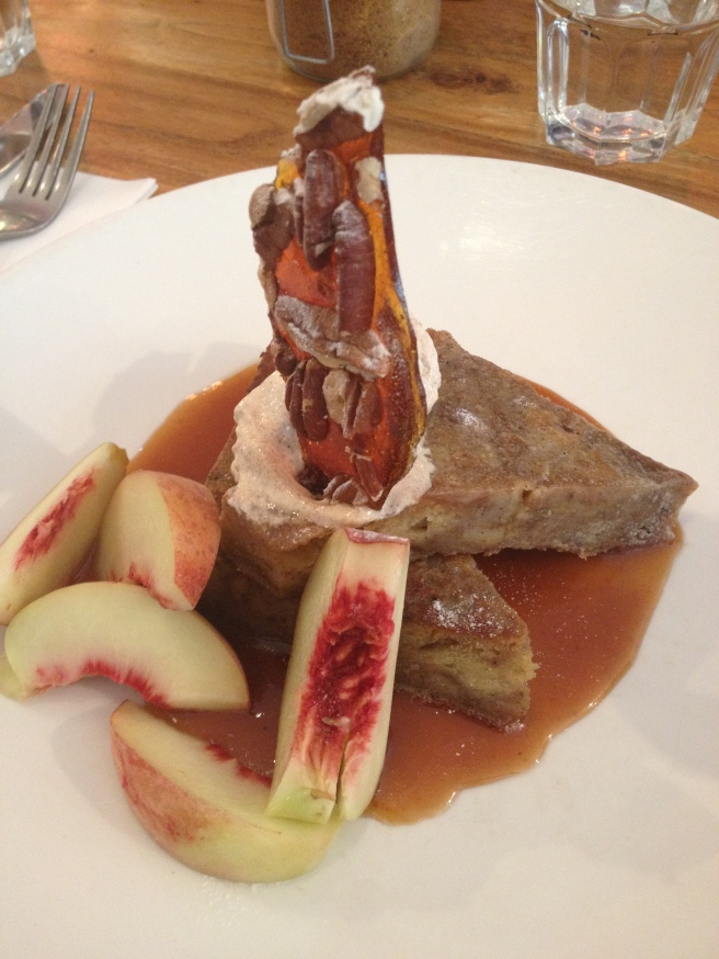 French toast with fresh peaches, bourbon salted caramel, cinnamon creme fraiche and pecan brittle - STREAT, Flemington