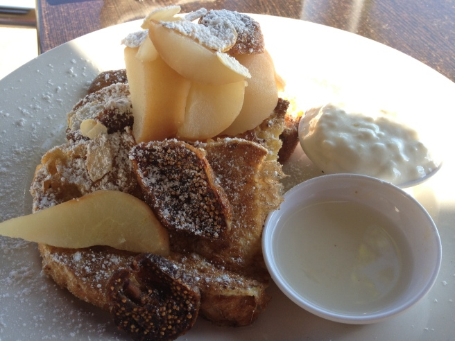 French toast with poached pear, Turkish dried fig and lime yoghurt - Hideout Cafe, Wodonga