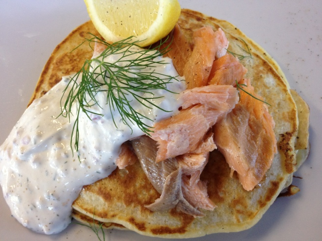 Potato Boxtie - potato pancake with house smoked salmon, sour cream and fresh lemon - Rubix Cafe, Wodonga