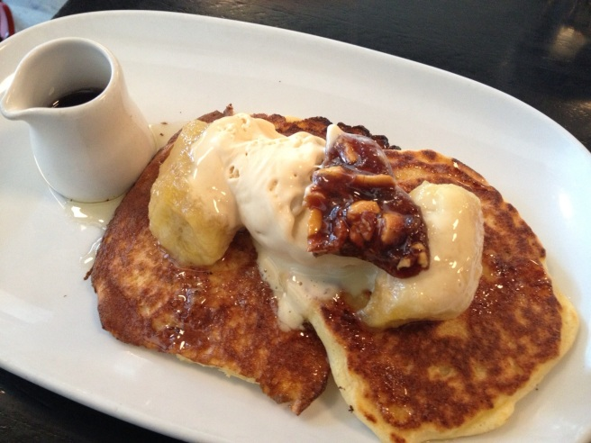 Ricotta hotcakes with confit caramelised banana, peanut butter & maple syrup - Birdman Eating, Fitzroy
