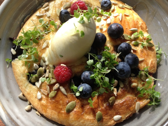 Ricotta hotcakes with blueberries, maple syrup, seeds and organic mascarpone - Top Paddock, Richmond