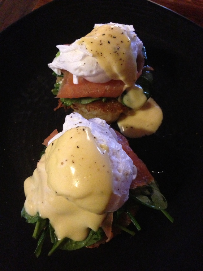 Potato rosti, poached eggs, smoked salmon,wilted spinach & hollandaise (House Specialty) - La Maison Cafe, Wodonga