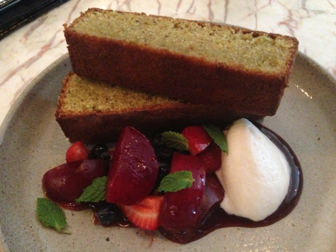 Warm pistachio loaf, yoghurt mousse, blood plums, sour cherry and berries - Small Victories, Carlton North