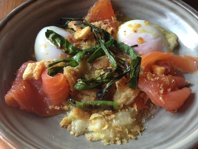 63 degree eggs, baby leeks, brioche crumbs, smoked salmon - Albert Street Food & Wine, Brunswick