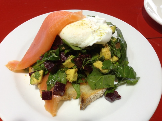 Roast beetroot & avocado on grilled sourdough topped with smoked salmon, dill dressing and poached egg - Bella Sistas, Camberwell South