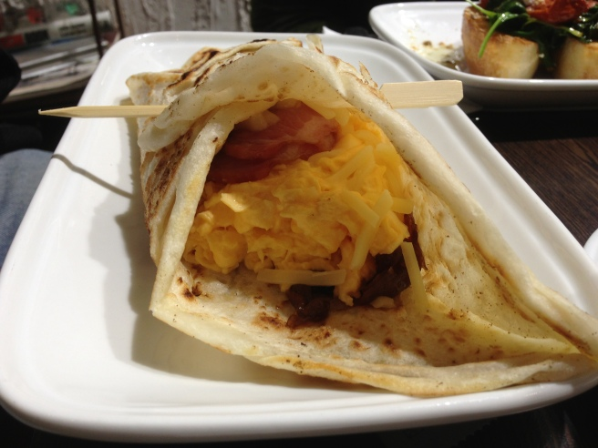 Egg Roti - Roti bread filled with scrambled eggs, bacon, caramelised onions & cheese - Bella Sistas, Camberwell South
