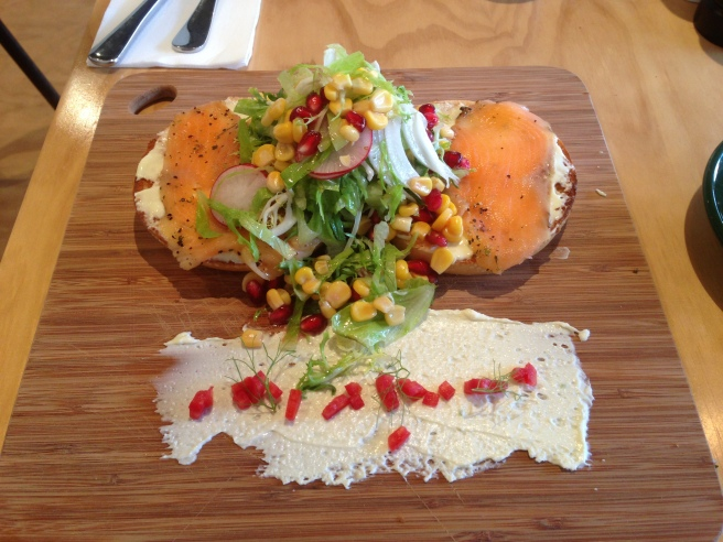 Salmon bagel with truffle cream cheese, capers & winter salad - Platform Espresso, Glen Iris