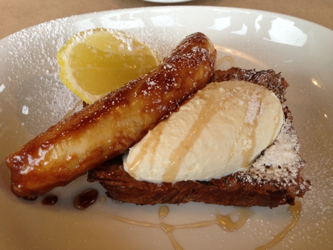 "Ann's ""fav"" French Toast, caramelised banana, whipped ricotta, maple syrup and lemon - He Says She Says, Camberwell"