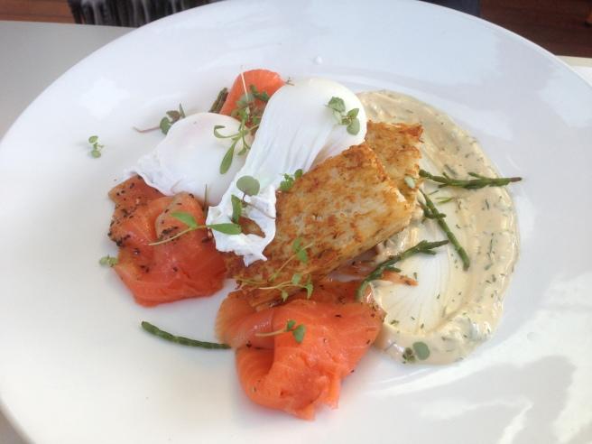 Cured New Zealand King salmon, samphire, potato rosti, poached eggs and dill mayo - The Resident, Ashburton