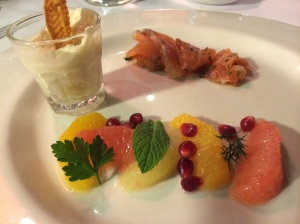 Enstitu made smoked salmon, celeriac horseradish sauce, citrus salad (February 2014 Tasting Menu), Istanbul Culinary Institute, Istanbul, Turkey