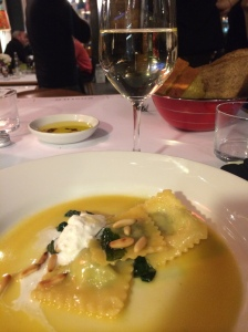 Homemade ravioli with spinach and ricotta cheese (February 2014 Tasting Menu), Istanbul Culinary Institute, Istanbul, Turkey