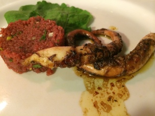 Grilled octopus, beetroot tabbouleh with fresh herbs (February 2014 Tasting Menu), Istanbul Culinary Institute, Istanbul, Turkey