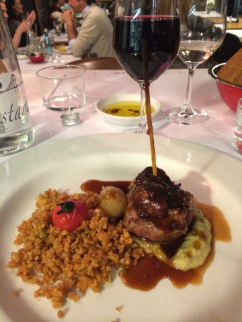 Lamb karsky, siyez bulghur pilaf, eggplant cream, lamb jus (February 2014 Tasting Menu), Istanbul Culinary Institute, Istanbul, Turkey