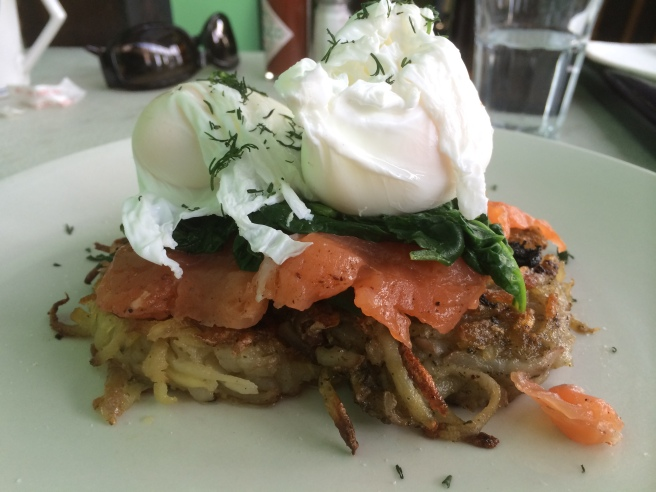House cured salmon, beetroot relish, horseradish romesco, spinach, two potato rostis and two poached eggs - Tyranny of Distance, Windsor