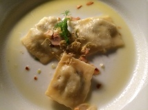 Homemade ravioli with fennel and artichoke, fried artichoke (Istanbul Culinary Institute, Istanbul, Turkey)