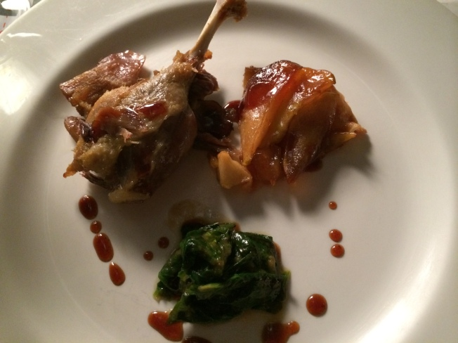 Duck leg confit, mini apple tartin, baby spinach with chilli, duck glaze (Istanbul Culinary Institute, Istanbul, Turkey)
