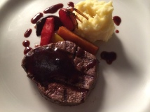 Pan fried beef tenderloin, potato puree with parmesan cheese, oven baked root vegetables, red wine sauce (Istanbul Culinary Institute, Istanbul, Turkey)