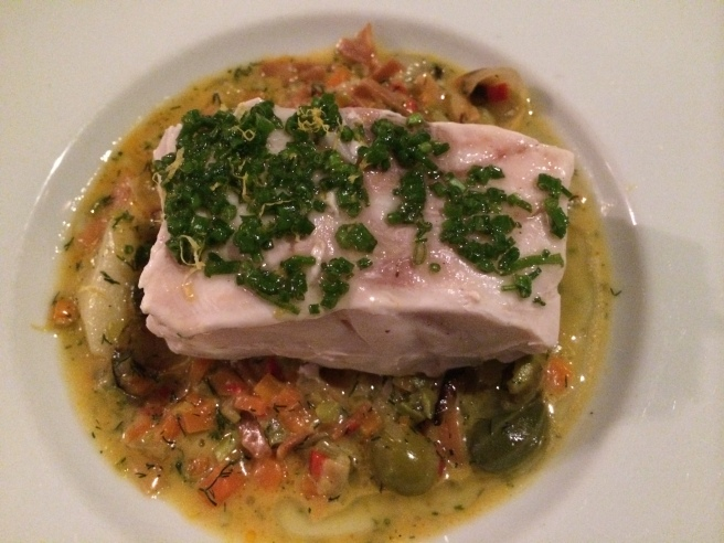 Slow Cooked Grouper, Sun Chokes, Whole Wheat Erişte, Halhali Olives, Chive-Fig Vinaigrette - Mikla, Istanbul, Turkey
