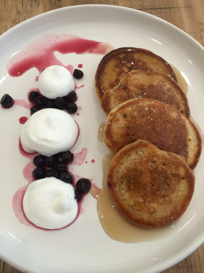 Rye, Chia Seed and Blueberry pancakes with vanilla mousse and maple syrup - Townhouse, Toorak