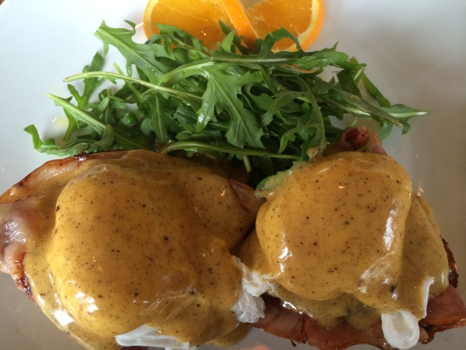 Eggs Benedicte with brown butter hollandaise, rocket on yoghurt scone - Dimattina Coffee, South Melbourne