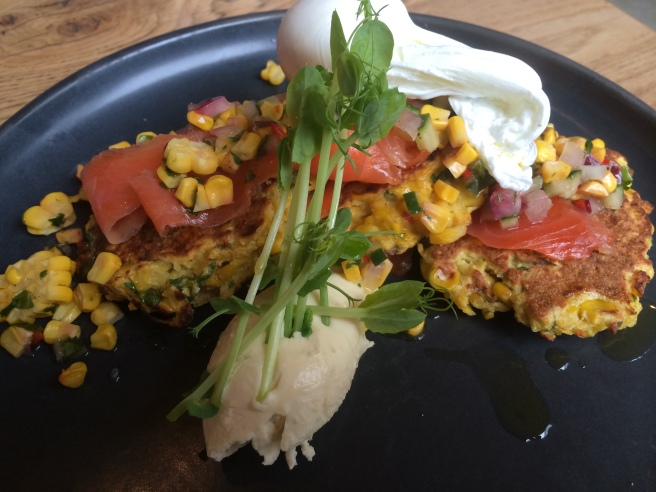 Trout Gravlax and Sweetcorn Fritters - The Kitchen at Weylandts, Abbotsford