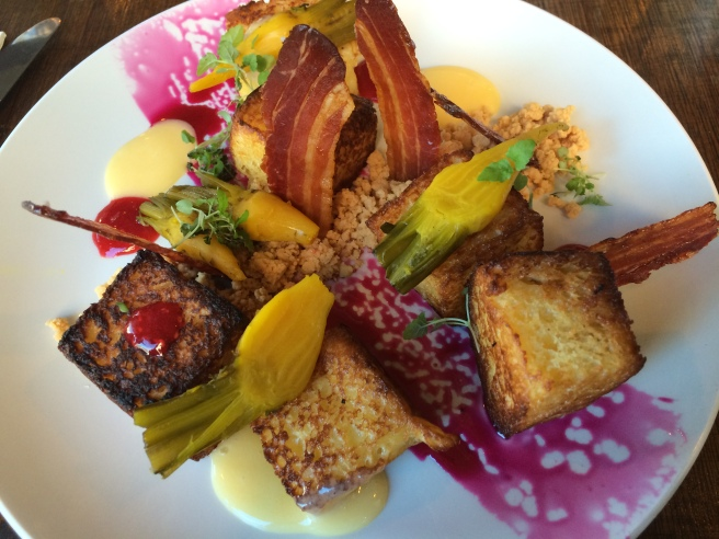 My PB and J; Brioche French Toast pieces served with peanut butter soil, sweetened beetroot, candied bacon, raspberry jelly and lemon curd - Breakfast Thieves, Fitzroy