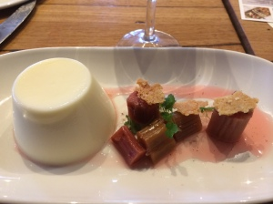 Buttermilk panna cotta, poached rhubarb salad; Bress Wine, Cider and Produce New Release Wine Lunch 2014 - Plough Hotel, Footscray