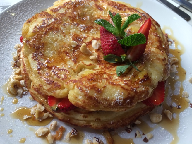 Nutella and banana pancakes - roasted hazlenuts, strawberries served with vanilla custard - The Meeting Place, South Yarra