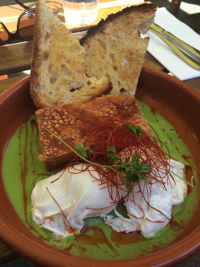 Pea & Ham - crisp roasted pork belly, poached free range eggs, green pea veloute served with sourdough toast - Two Little Pigs Charcuterie and Grind, Brunswick