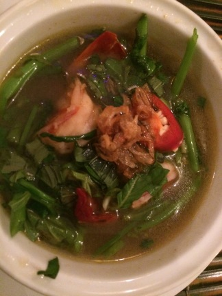 Sweet and Sour Shrimp Soup with Morning Glory, Lemongrass Restaurant, HCMC - Vietnam Culinary Discovery