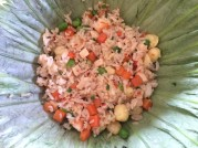 Lotus fried rice in lotus leaf, Saigon Cooking Class, HCMC - Vietnam Culinary Discovery