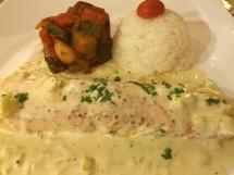 Fresh fried salmon fillet with leek fondue - La Fourchette, HCMC - Vietnam Culinary Discovery