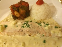 Fresh fried salmon fillet with leek fondue - La Fourchette, HCMC - Vietnam Culinary Discovery