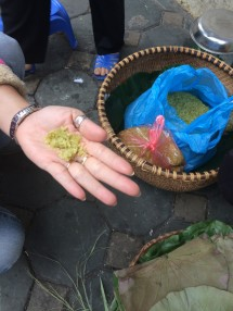 Young green sticky rice, Hanoi Street Food Tour - Vietnam Culinary Discovery