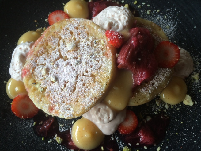 Dr Marty's Crumpets with citrus curd, aerated rhubarb mascarpone, toasted macadamia and sesame - Cafe Gaia, South Yarra