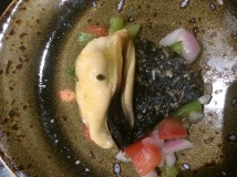El Choro Chalaco – Port Phillip Black Mussel, Chalaca Salsa served on a Seaweed Crisp - Pastuso, Melbourne