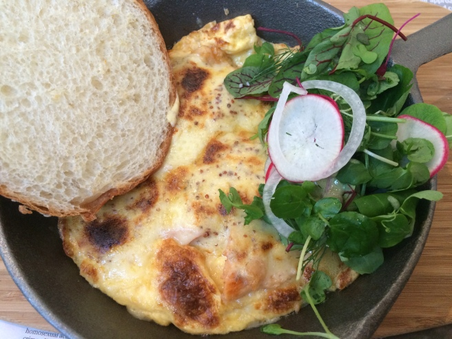 """Gordon Bennett"" smoked trout, mustard, Gruyere omelette - Proper & Son, South Melbourne"
