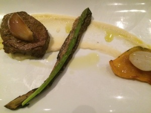 Pan seared Eye Fillet with shallots, celeriac puree, capsicum and eggplant - The Grand, Richmond