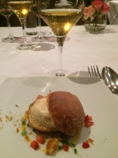 Creme pasticcera filled Italian doughnuts with caramel ice cream and honeycomb - The Grand, Richmond