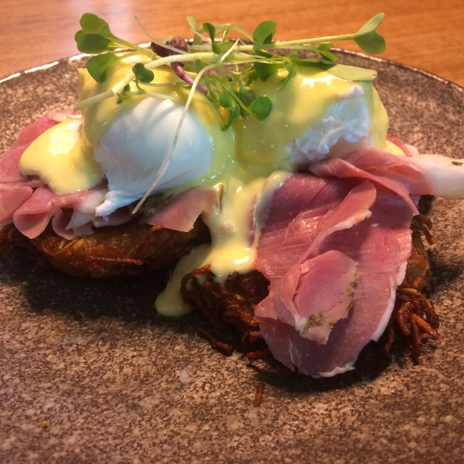 Eggs Benedict with potato and thyme rosti, grandmother lamb ham and horseradish hollandaise - Operator25, Melbourne