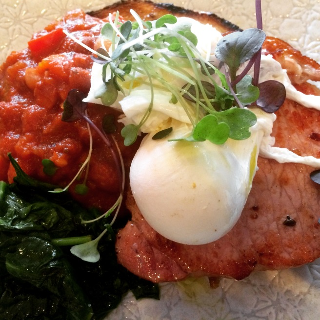 Kessler Bacon with poached eggs, spinach, beans and sourdough - Seven:am, Port Melbourne