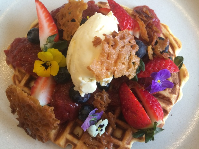 Waffles, strawberry and rhubarb compote, vanilla crème, brandy snaps - Square and Compass, East Melbourne