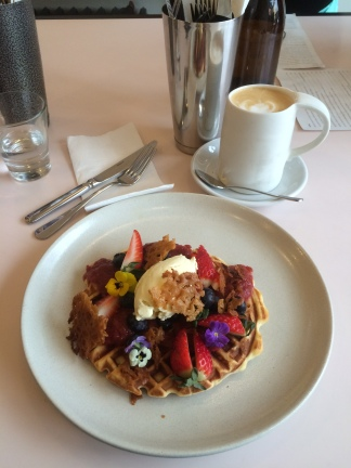 Waffles, strawberry and rhubarb compote, vanilla creme, brandy snaps - Square and Compass, East Melbourne