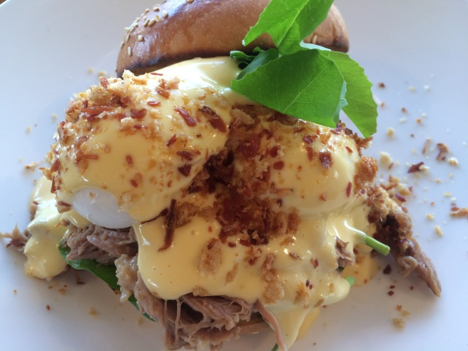 Pulled Pork Benedict, Slow cooked pork shoulder with two poached eggs, hollandaise and prosciutto crumb - Balderdash, Port Melbourne