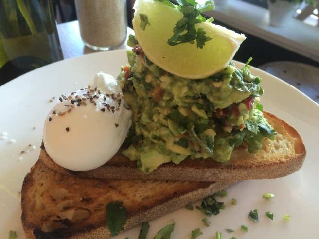 Winter Smash: avocado, chilli, coriander and fresh lime on toasted sourdough and poached egg - Adeney Milk Bar, Kew