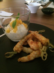 Prawns with Lime and Mango Dipping Sauce, ALDI Degustation Dinner