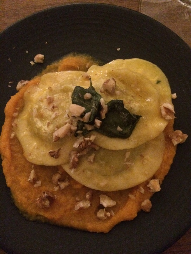 Ricotta and spinach cappellaccio, spiced pumpkin purée, crispy sage, burnt butter sauce and walnut crumb - ALDI Degustation Dinner